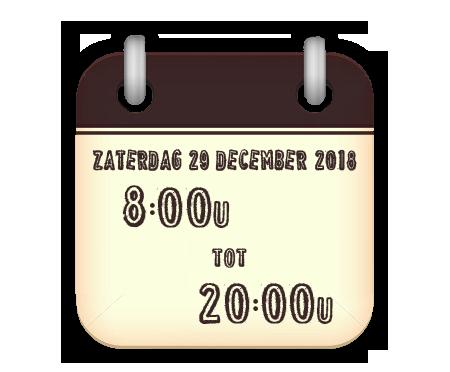 zaterdag 29 december van 8 tot 20u
